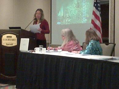 Figure 1AAUW Director Amy Blackwell speaking to the 2014 State Convention